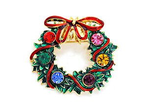 Multicolor Crystal Enamel Christmas Wreath Brooch