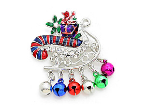 Crystal Pave Enamel Christmas Sleigh Ornament Brooch