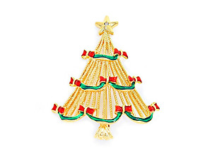 Goldtone Crystal Enamel Christmas Tree Brooch