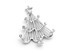 Silvertone Crystal Enamel Christmas Tree Brooch