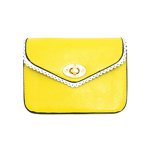 Yellow Lace Effect Trim Mini Clutch Bag with Metal Chain Strap