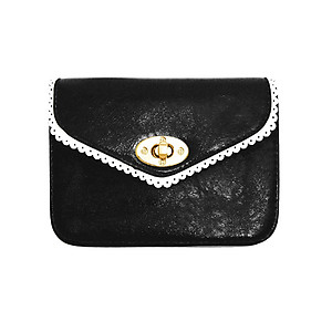 Black Lace Effect Trim Mini Clutch Bag with Metal Chain Strap