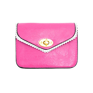 Pink Lace Effect Trim Mini Clutch Bag with Metal Chain Strap