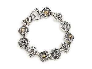 Filigree Rosette Link Bracelet Magnetic Closure