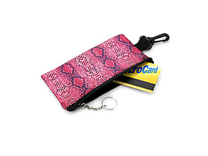 Glasses Print Snakeskin Faux Leather Eyeglass Case Pouch with Keychain
