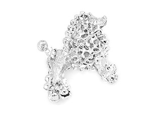 Silvertone Rhinestone & Synthetic Pearl Dog Pin Brooch