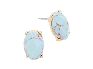 Colorful Worn Gold Semi Precious Natural Stone Oval Stud Earrings