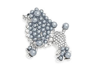 Hematite Rhinestone & Synthetic Pearl Dog Pin Brooch