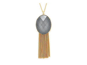 Shimmery Pendant & Fringe Goldtone Drop Long Necklace