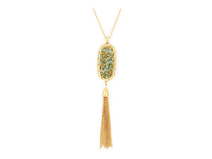 Glass Bead Cluster Disc & Tassel Drop Goldtone Long Necklace
