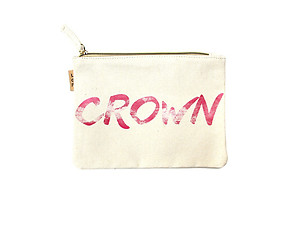 Crown Cotton Canvas Zipper Eco Pouch Bag