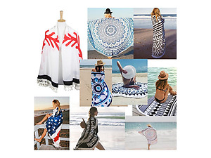 Sport Themed Round Beach Throw Cover Up with Tassels