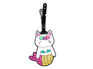 Yellow & Pink Tail Mermaid Cat ~ Travel Suitcase ID Luggage Tag and Suitcase Label