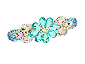 Lovely Rhinestone Crystal Floral Barrette Hair Accessory