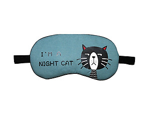 Blue Night Cat Reusable Hot/Cold Eye Mask & Soothing Gel Pack for Sleep or Travel