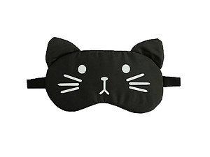 Black Cat Reusable Hot/Cold Eye Mask & Soothing Gel Pack for Sleep or Travel
