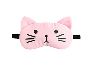 Pink Cat Reusable Hot/Cold Eye Mask & Soothing Gel Pack for Sleep or Travel