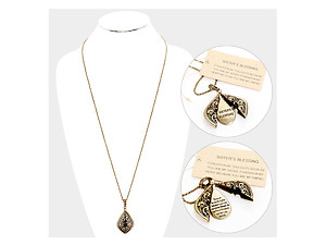 Sister's Blessing Embossed Metal Opening Locket Pendant Long Necklace