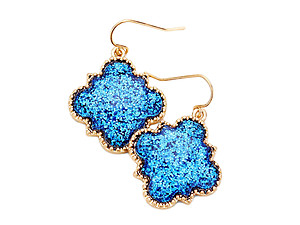 Worn Gold Glitter Quatrefoil Fish Hook Dangle Earrings