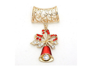 Goldtone Women's Christmas Holiday Themed Jingle Bells Scarf Jewelry Ring