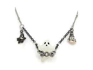 Halloween Ghost Boo Pendant Necklace & Earring Set
