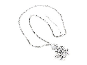 Halloween Skating Skeleton Pendant Necklace