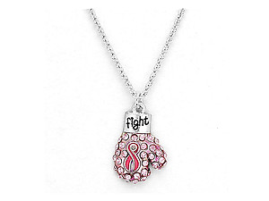 Breast Cancer Awareness Boxing Glove Pendant Jewelry Set