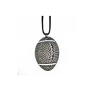 Faceted Crystal Pave Football Pendant Necklace