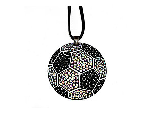 Faceted Crystal Pave Soccer Pendant Necklace