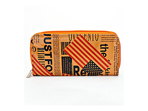 Orange American Flag Zip around Wallet