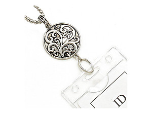 Vine Filigree Badge 30 inch Identification Charm Badge Holder