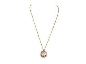 Goldtone Anchor Floating Charm Locket Pendant Necklace