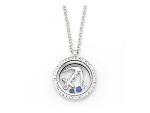 Silvertone Anchor Floating Charm Locket Pendant Necklace