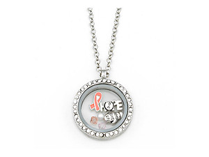 Silvertone HOPE Floating Charm Locket Pendant Necklace