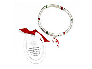 Silver Burnished Christmas Stretch Bracelet