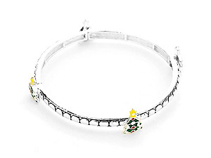 Silvertone Christmas Tree Stretch Bracelet
