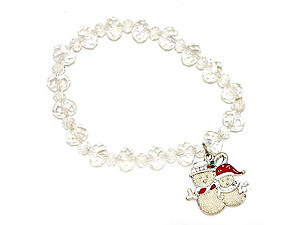 Christmas Snowman Glass Bead Stretch Bracelet