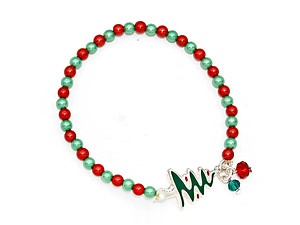 Multi-color Christmas Tree Pearl Stretch Bracelet