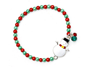 Multi-color Christmas Snowman Pearl Stretch Bracelet
