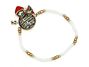 Gold Burnished Christmas Snowman Stretch Bracelet