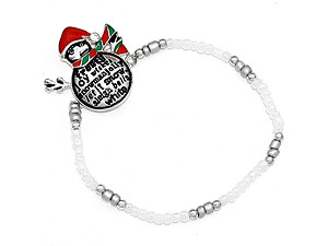 Silver Burnished Christmas Snowman Stretch Bracelet