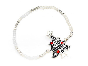 Silver Burnished Christmas Tree Bead Stretch Bracelet