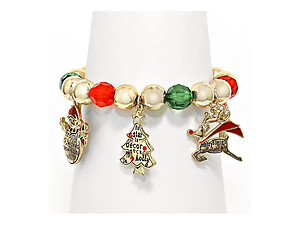 Christmas Beaded Charm Stretch Bracelet
