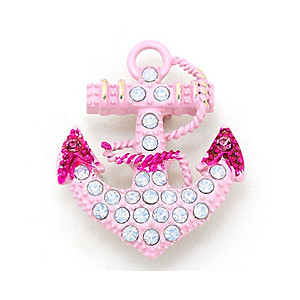 Pink Enamel Opal Crystal Anchor Pin Brooch