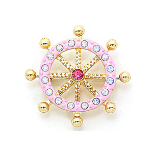 Pink Crystal Enamel Bubble Helm Pin Brooch