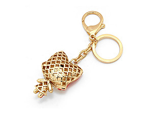 Goldtone Crystal Rhinestone Resin Foxy Pave Key Chain