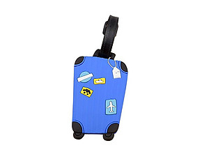 Travel Suitcase ID Luggage Tag and Suitcase Label - Blue Suitcase