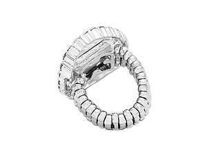 Silvertone Metal Round Crystal Stretch Ring