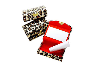 Leopard Pattern Double Lipstick Case w/ Mirror