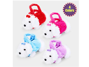 Kids Adjustable Strap Furry Fluffy Mini Puppy Doll Crossbody Bag